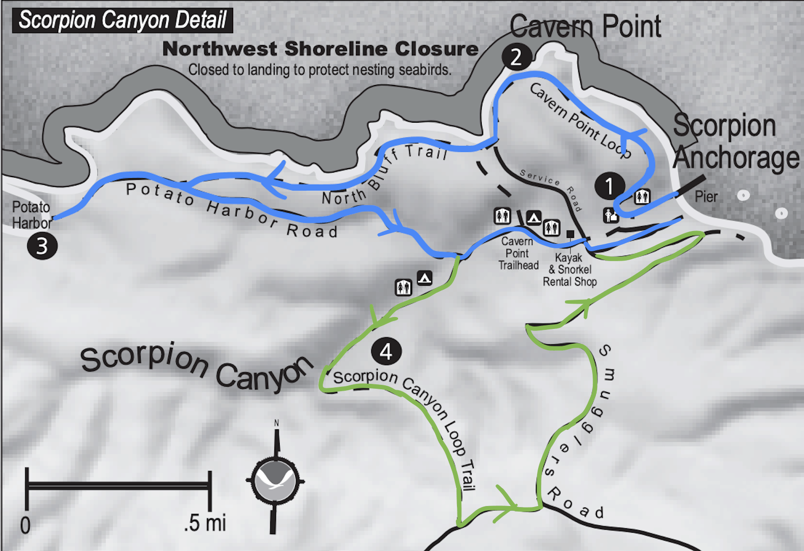 Santa Cruz Island Hike Map
